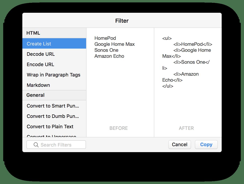 Criando uma lista no Pastebot para macOS