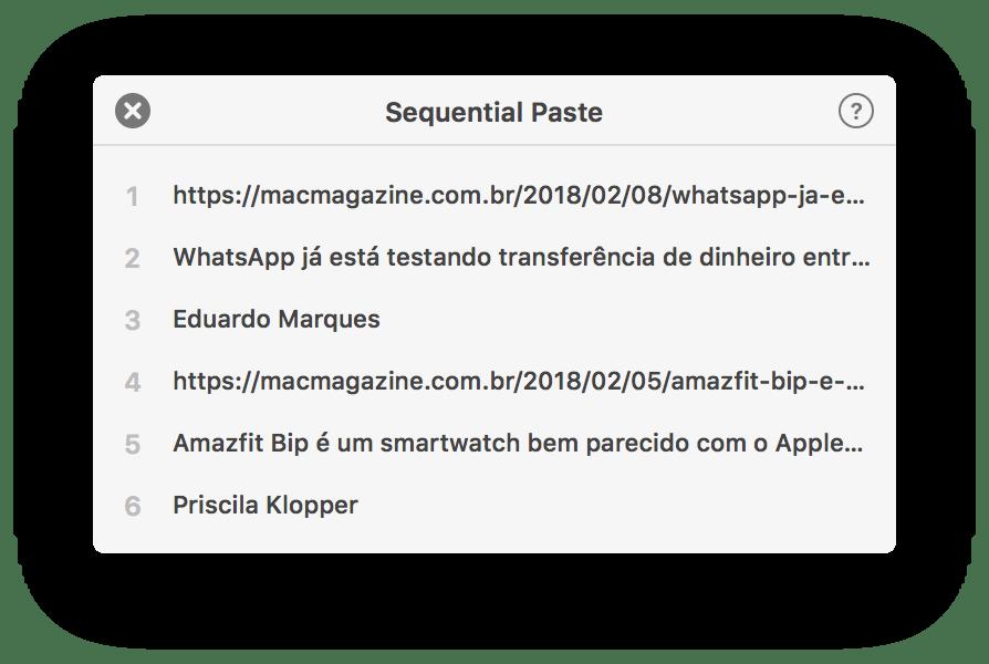 Sequência de texto copiado no Pastebot para macOS