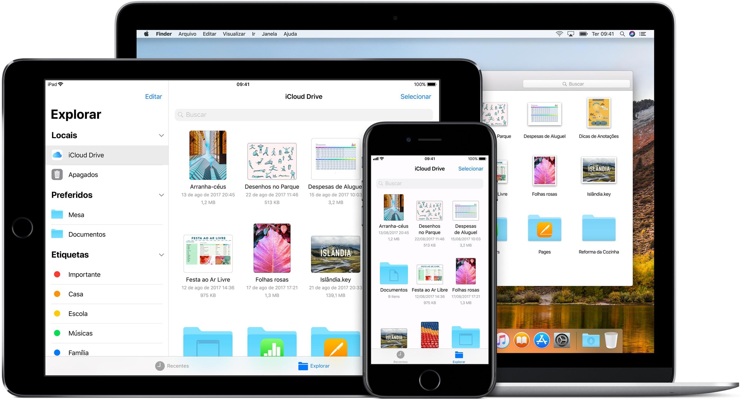 Visualizando arquivos no Mac, no iPhone e no iPad