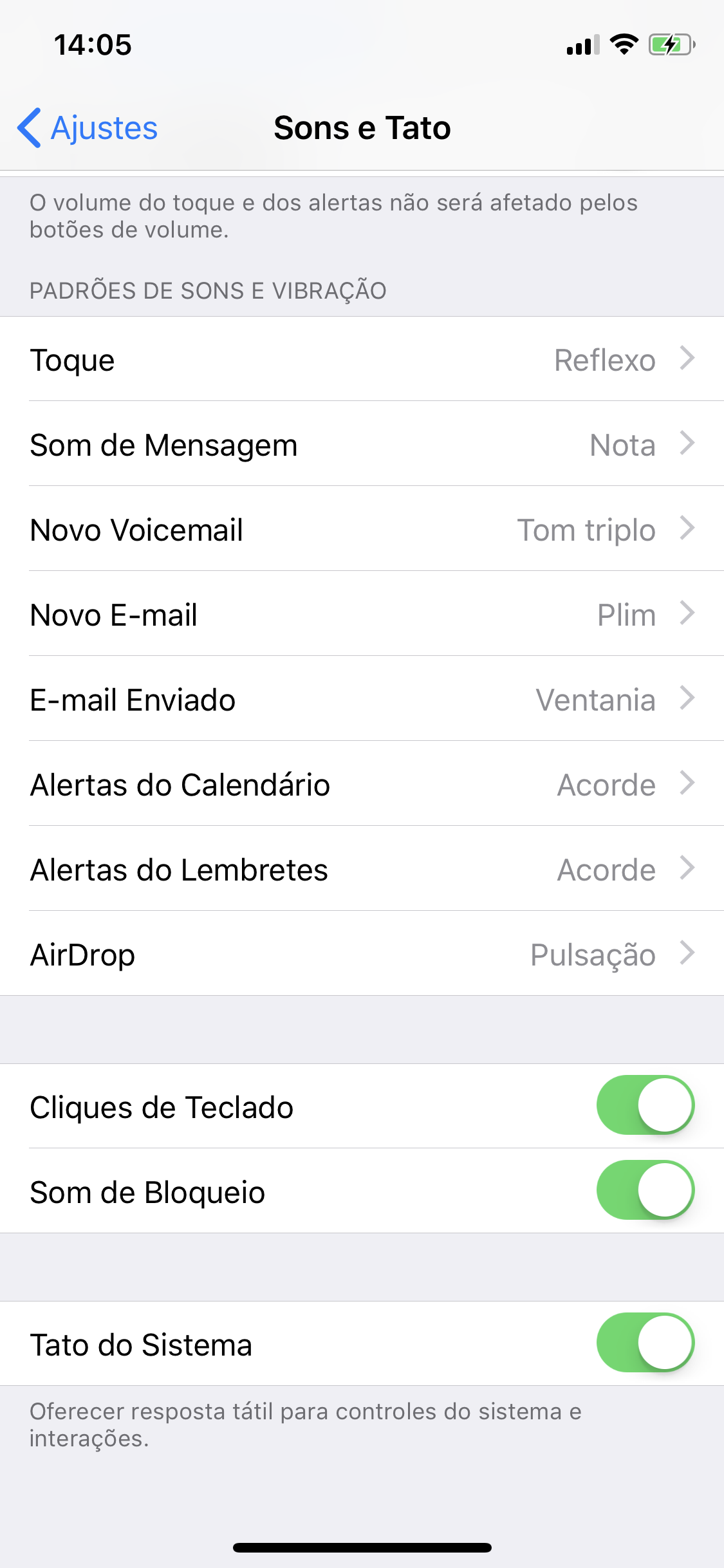 Ajustes do iOS - Sons e Tato