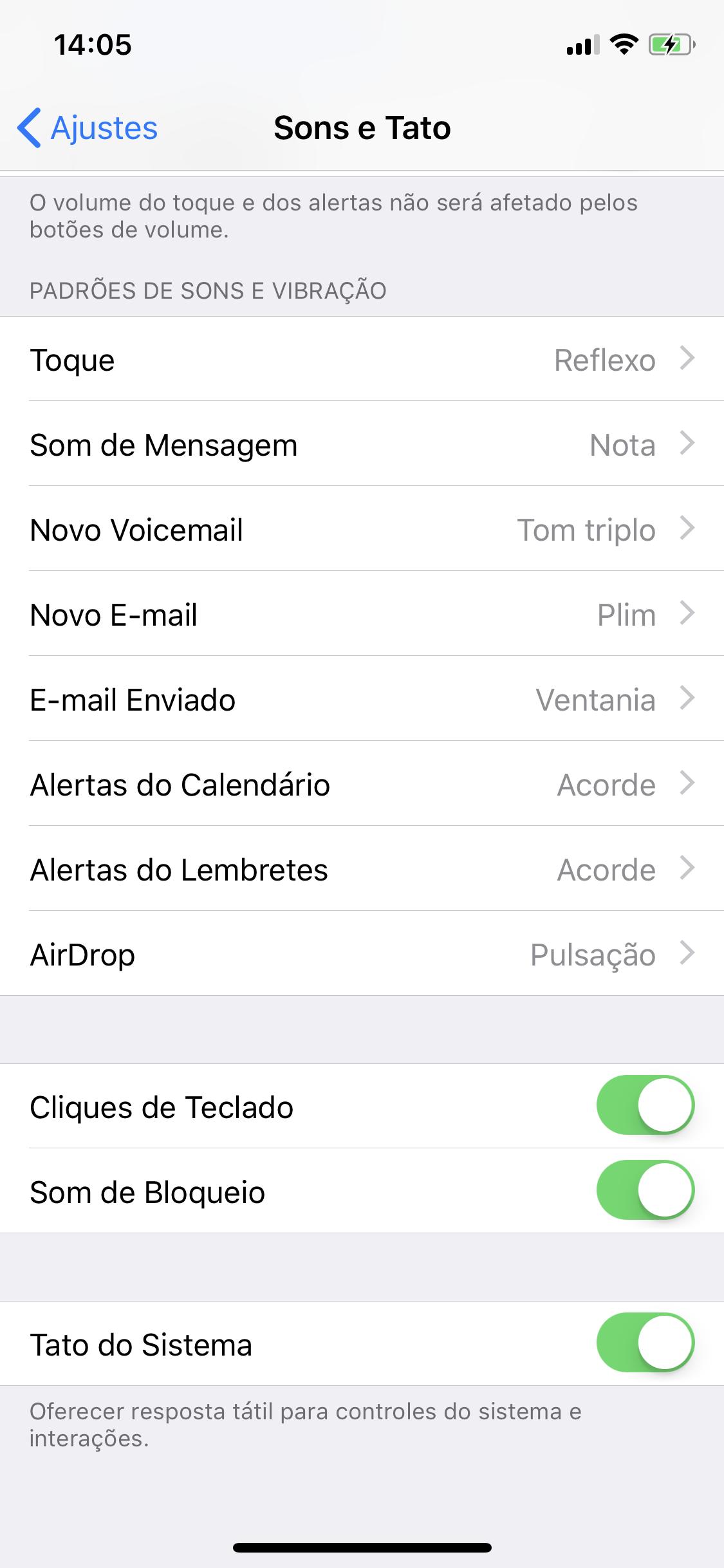 Ajustes do iOS - Sons e Tato