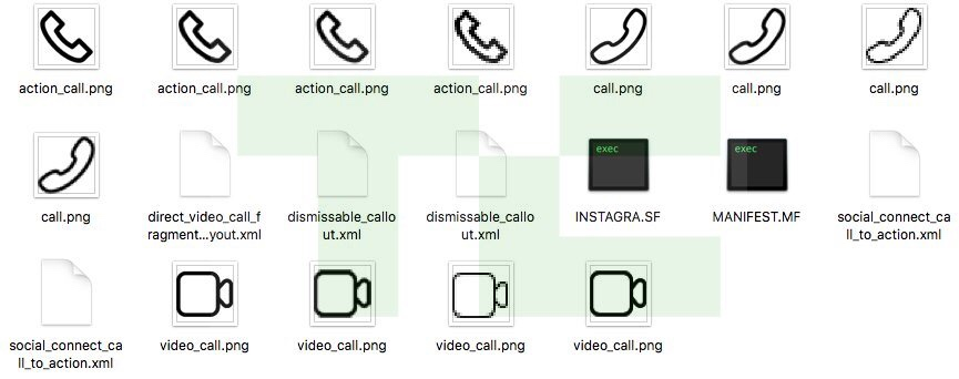 Ícones de chamadas de áudio e vídeo no Instagram