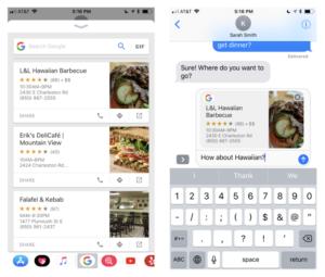 Nova extensão para iMessage do Google para iOS
