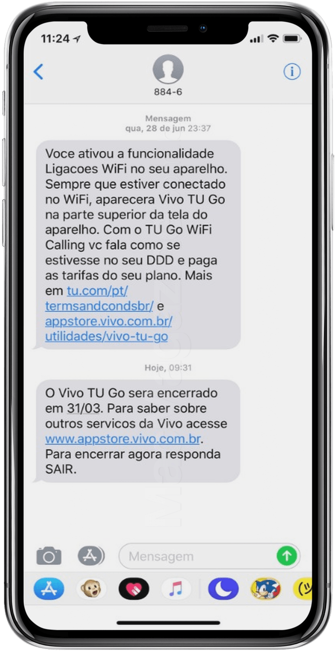 Fim do Vivo TU Go num iPhone X