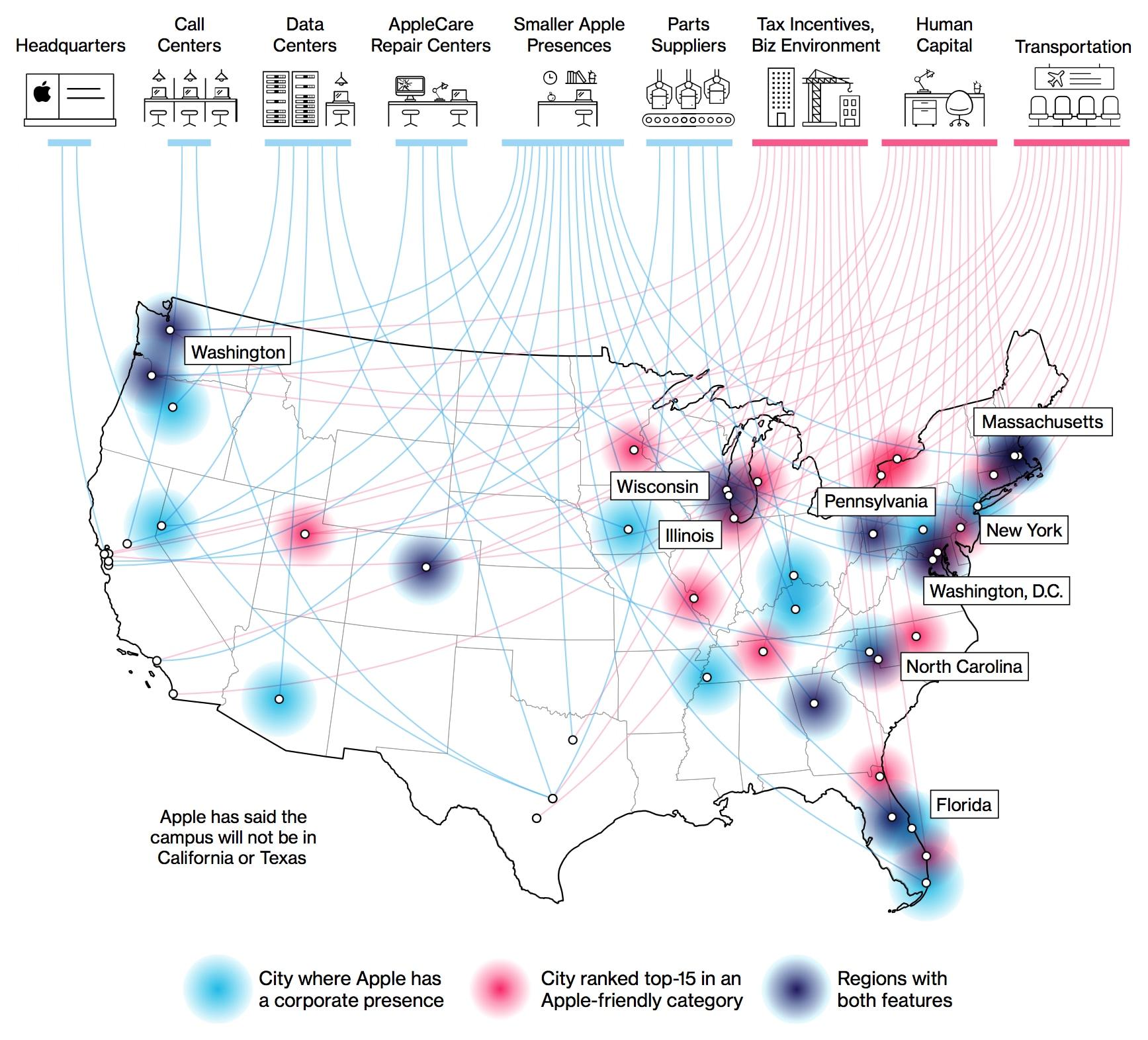 Mapa de onde poderá ser o novo campus da Apple