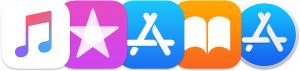 Ícones do Apple Music, da iTunes Store, da App Store, da iBooks Store e da Mac App Store