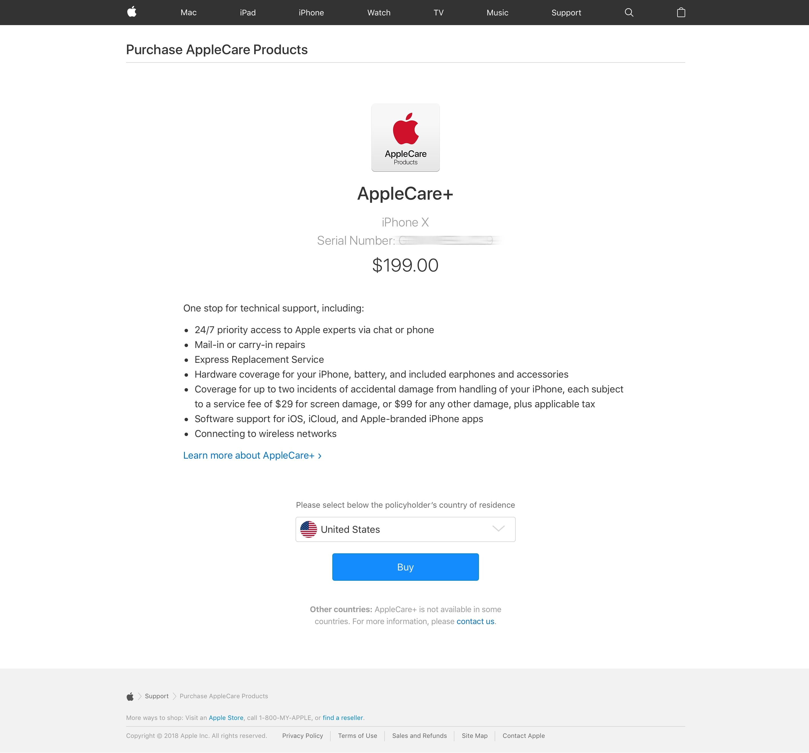 Comprando o AppleCare+ para iPhone