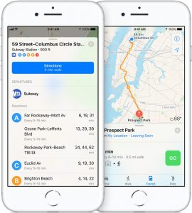 Transporte público no Mapas da Apple