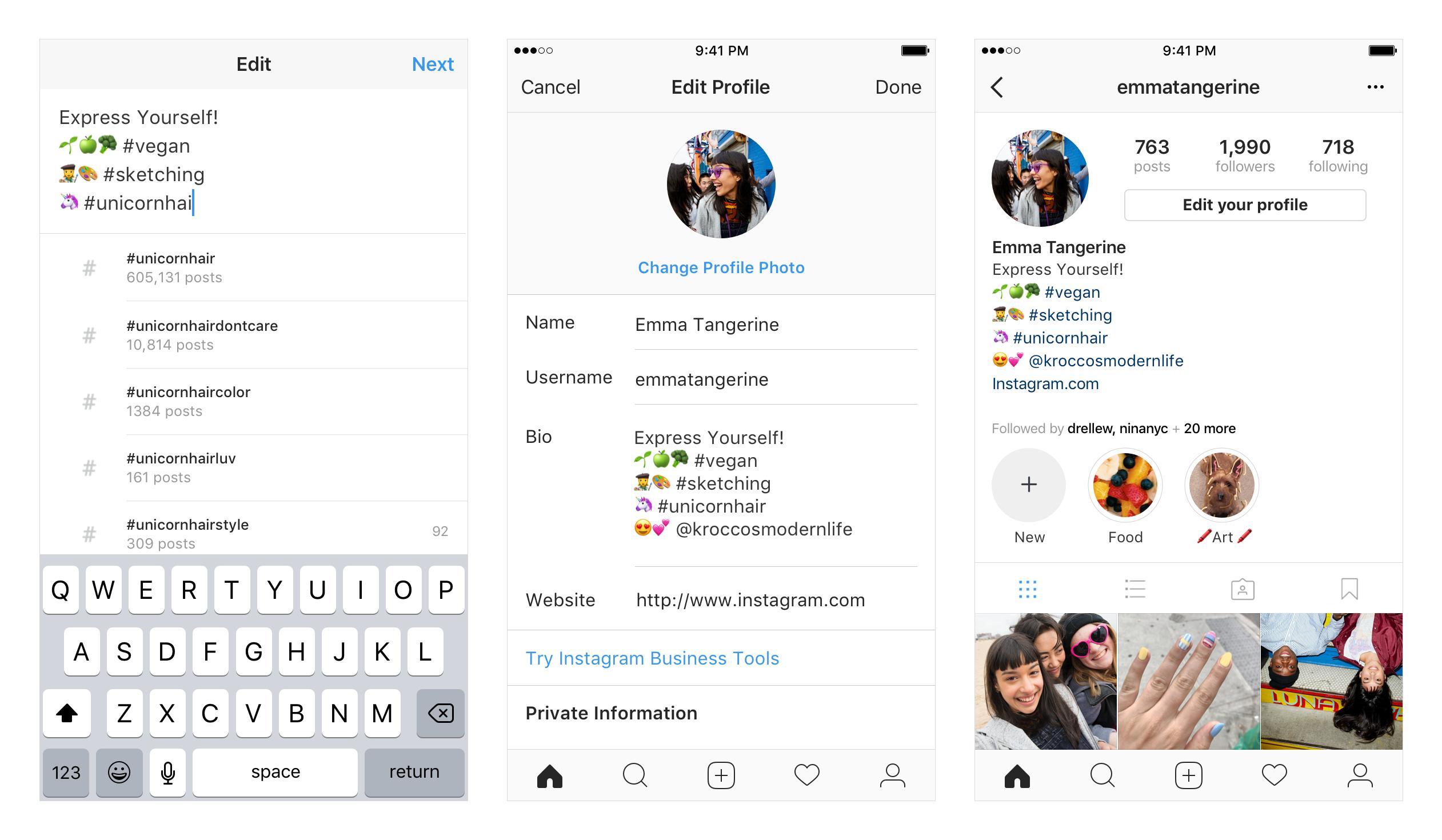 Bio do instagram com hashtags e perfis com links ativos