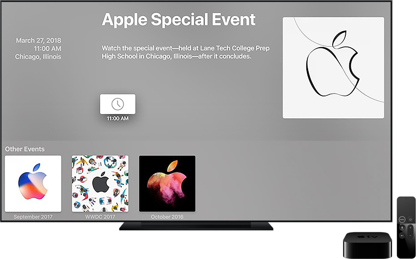 Evento educacional da Apple na TV