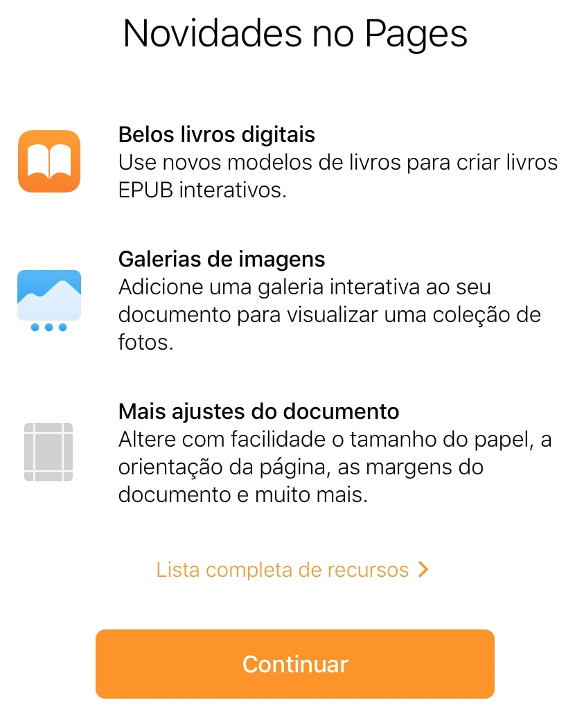 Novidades do Pages no iCloud.com