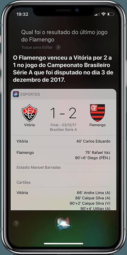 Siri dando resultados do Campeonato Brasileiro no iPhone