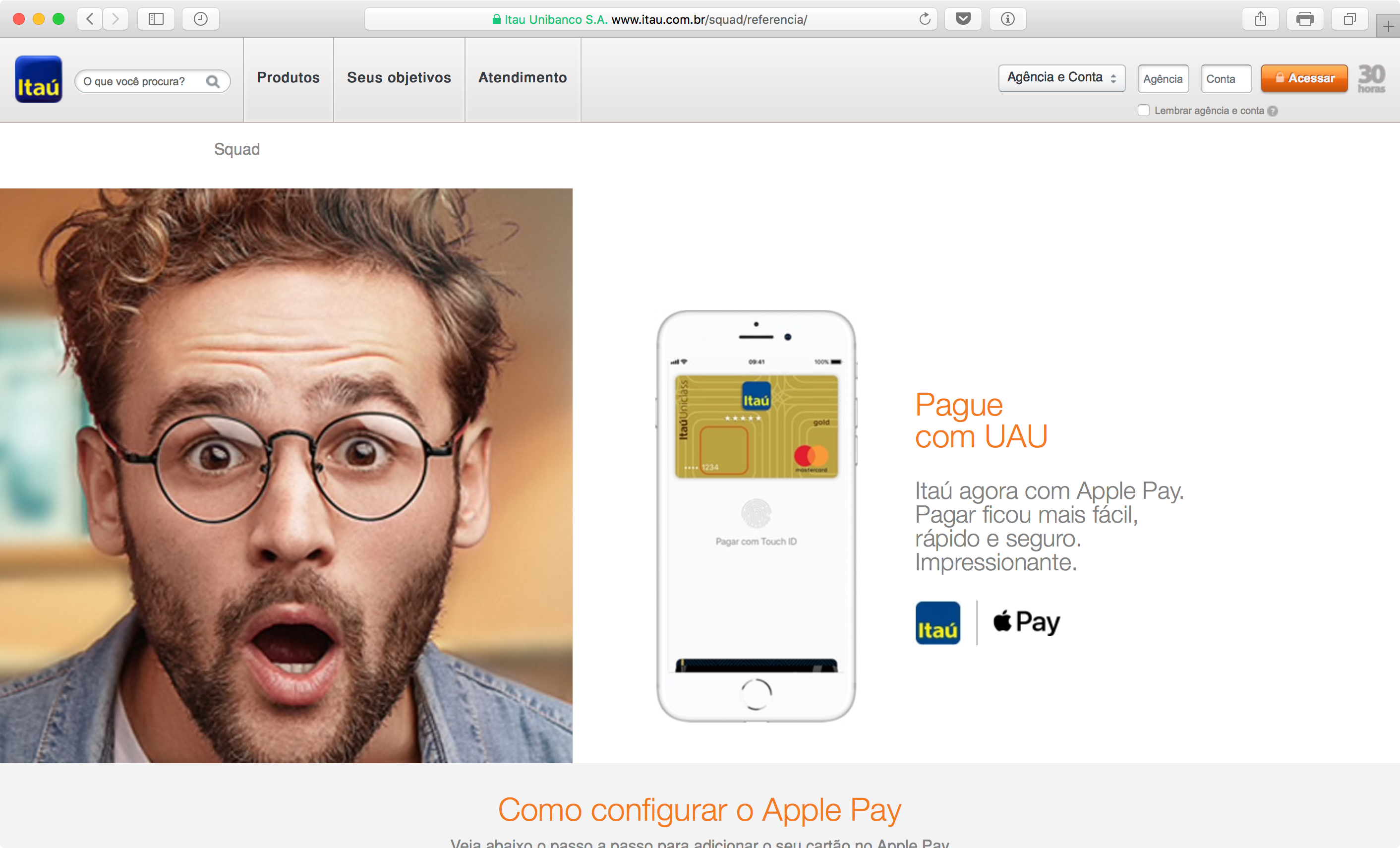 Página do Apple Pay no site do Banco Itaú