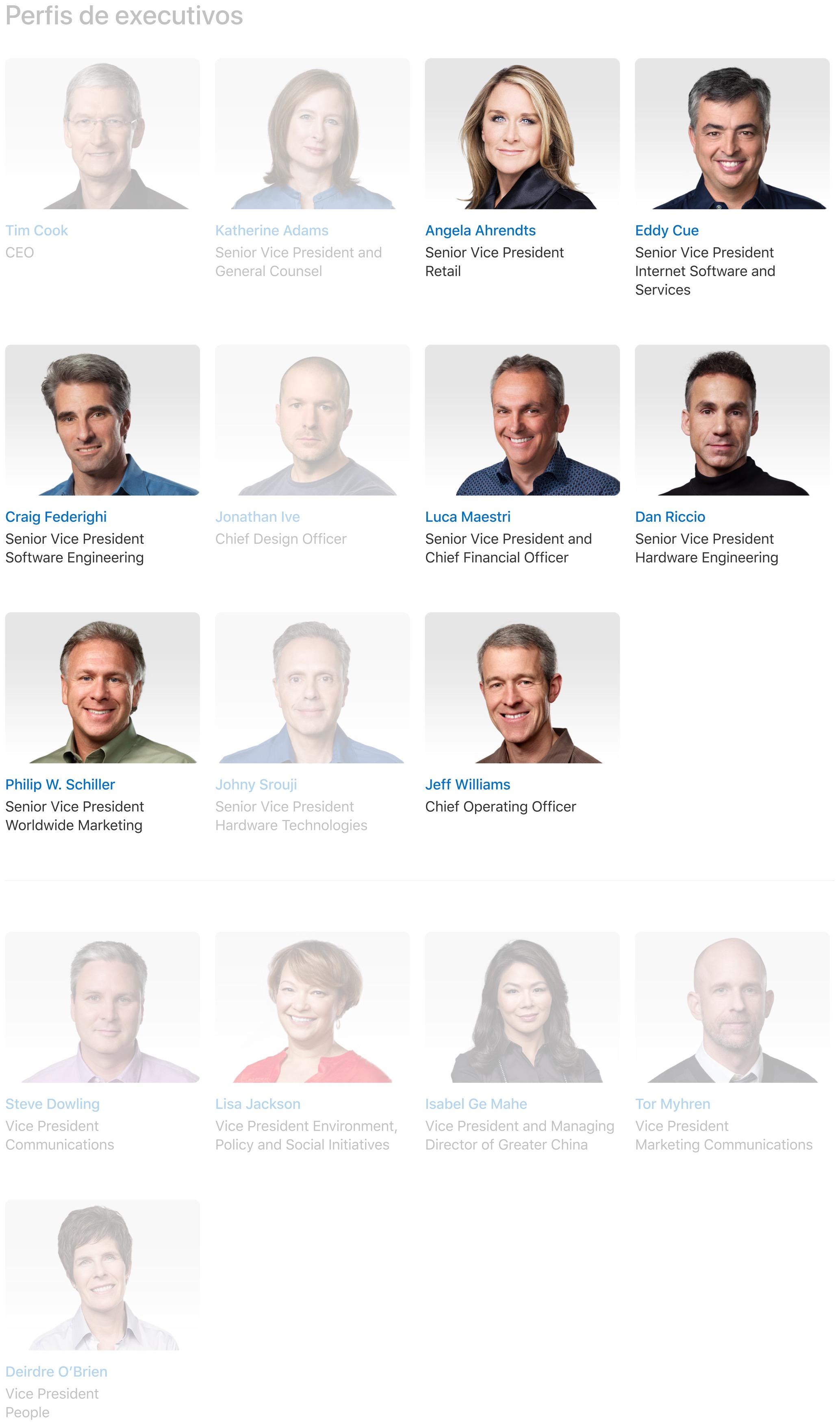 Quadro de executivos da Apple