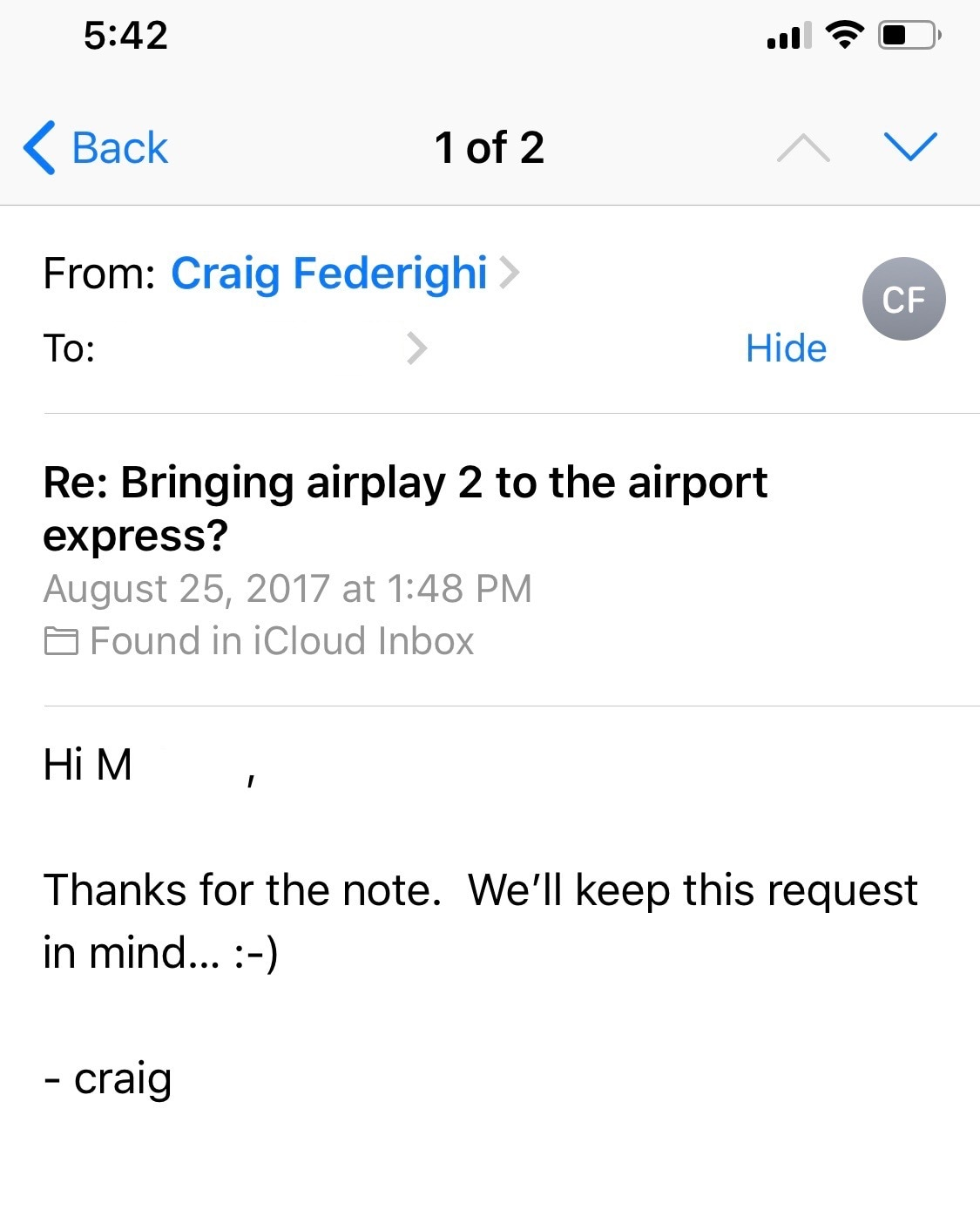 Craig sobre o AirPort Express