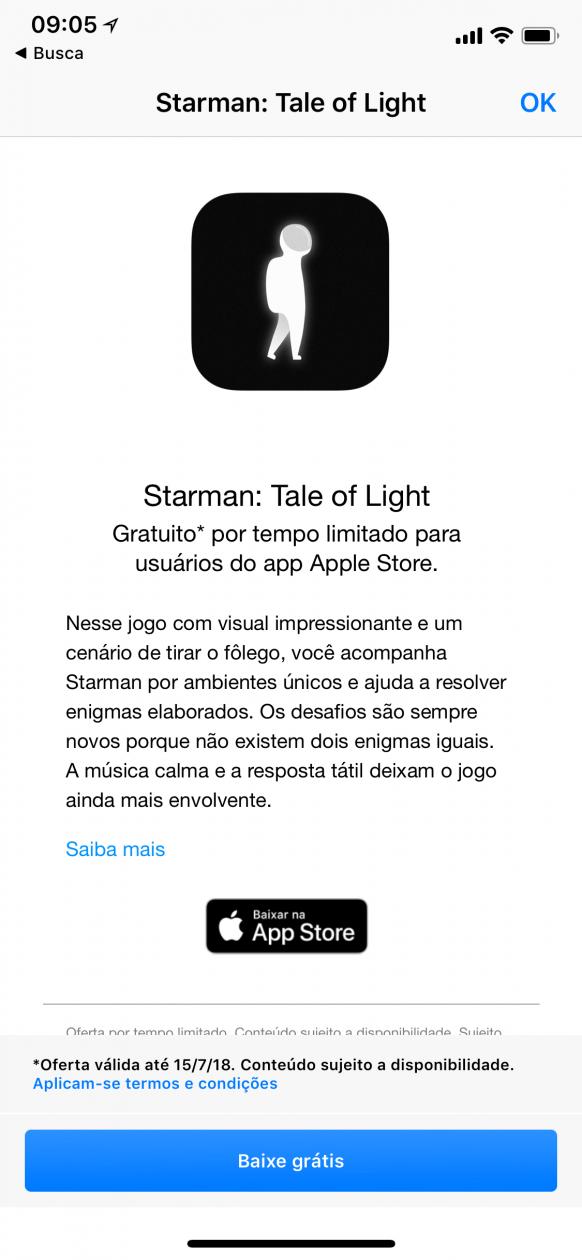 Starman de graça pelo app Apple Store