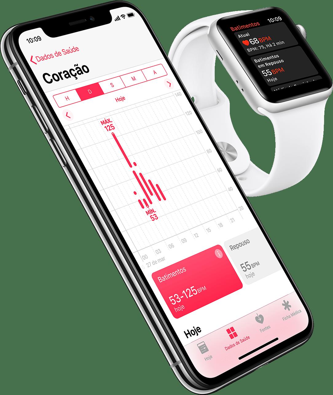 Monitoramento cardíaco no iPhone X e no Apple Watch Series 3