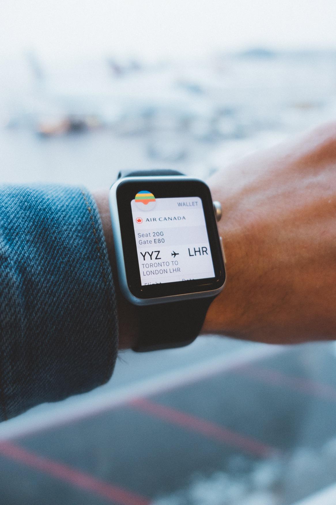 Cartão de embarque no Apple Watch