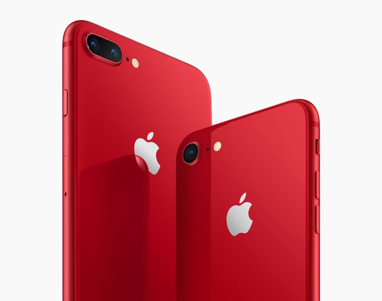 Traseira dos iPhones 8 Plus e 8 vermelhos — (PRODUCT)RED