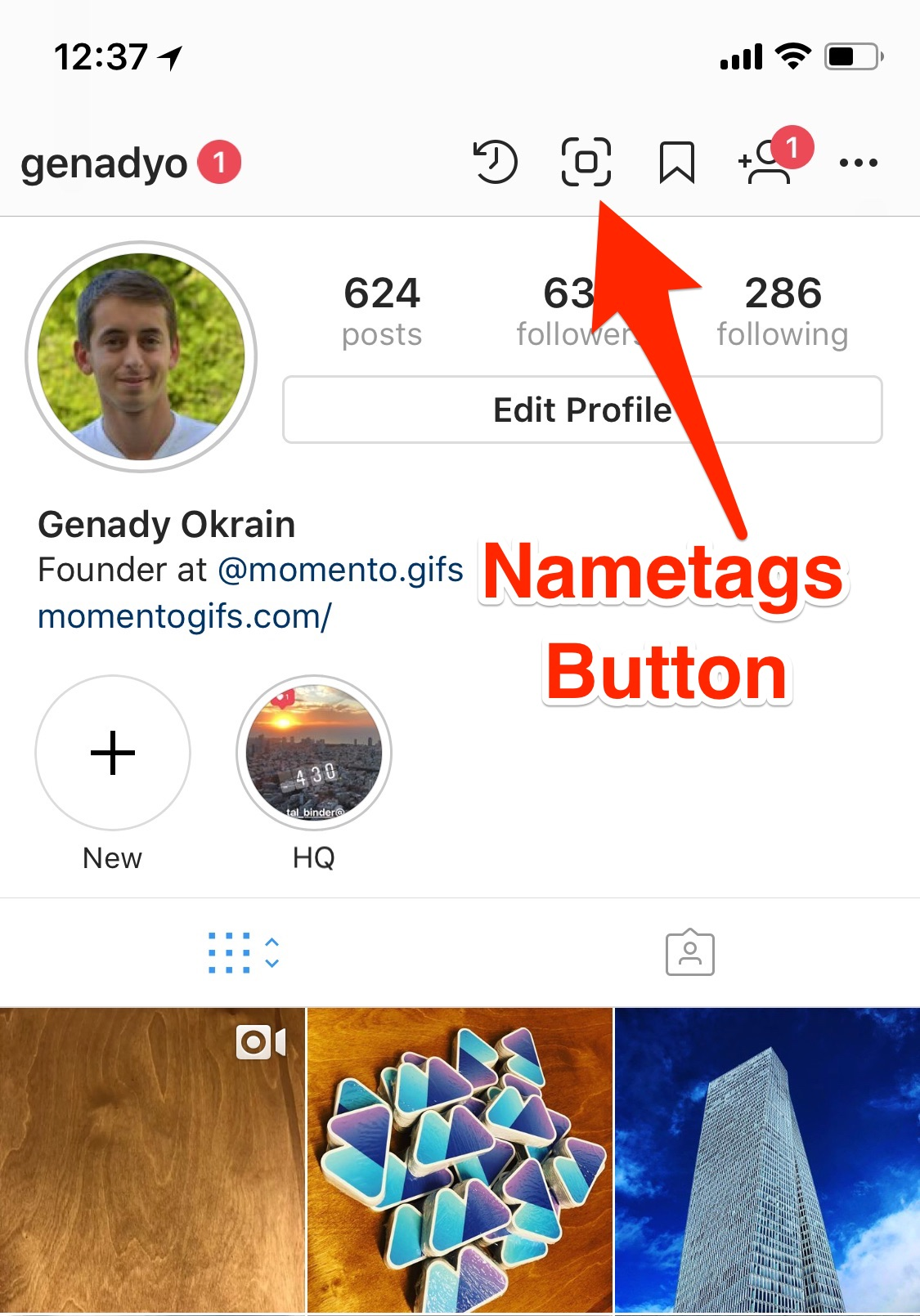 Novo recurso de Nametags do Instagram