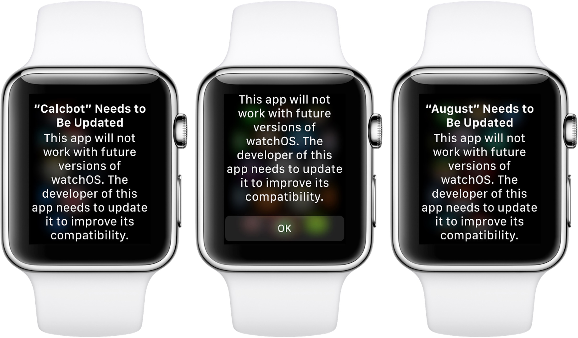 Alerta de incompatibilidade com apps no watchOS