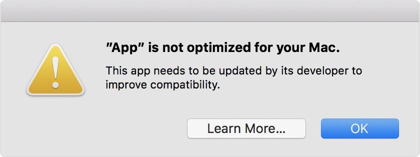 Alerta sobre app de 32 bits no macOS High Sierra