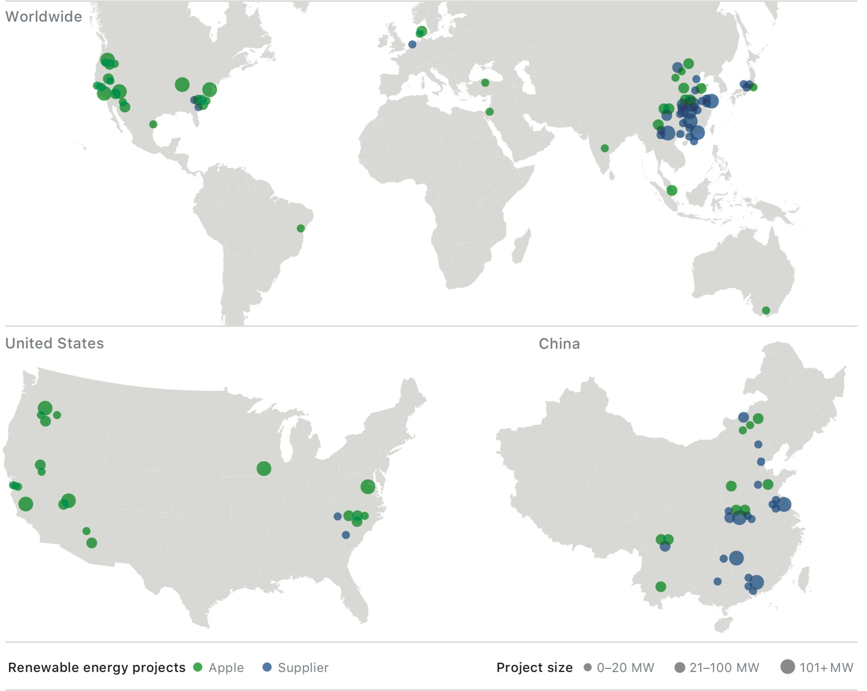 Mapa com os investimentos de longo prazo em novos projetos de energia renovável