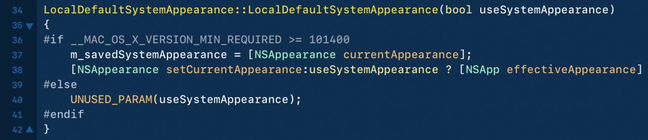 Código do macOS 10.14 indicando um possível Modo Escuro