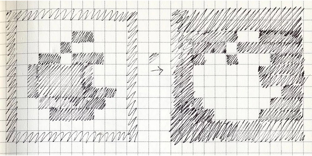 Logo da Apple desenhado em pixels