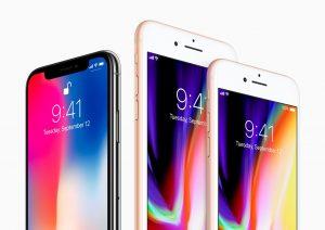 Família de iPhones - X, 8 Plus e 8