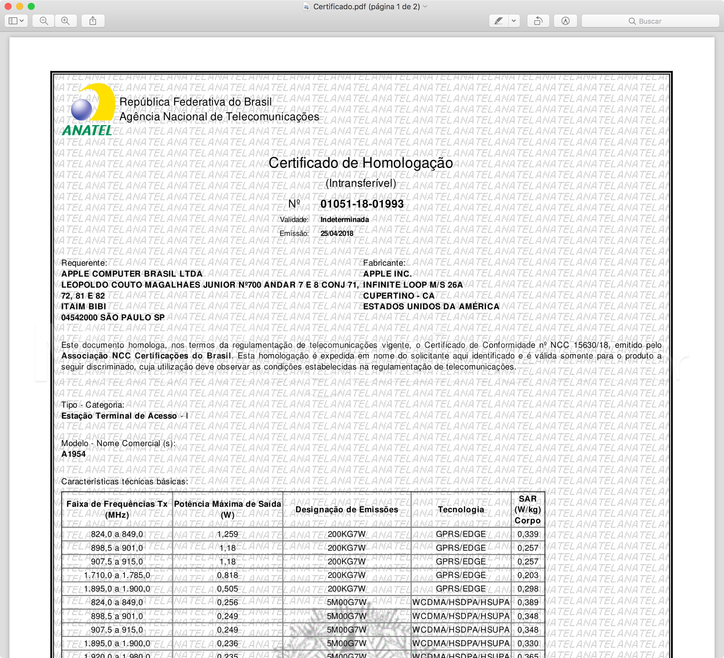 Certificado de Homologação do iPad de sexta geração (Wi-Fi + Cellular)