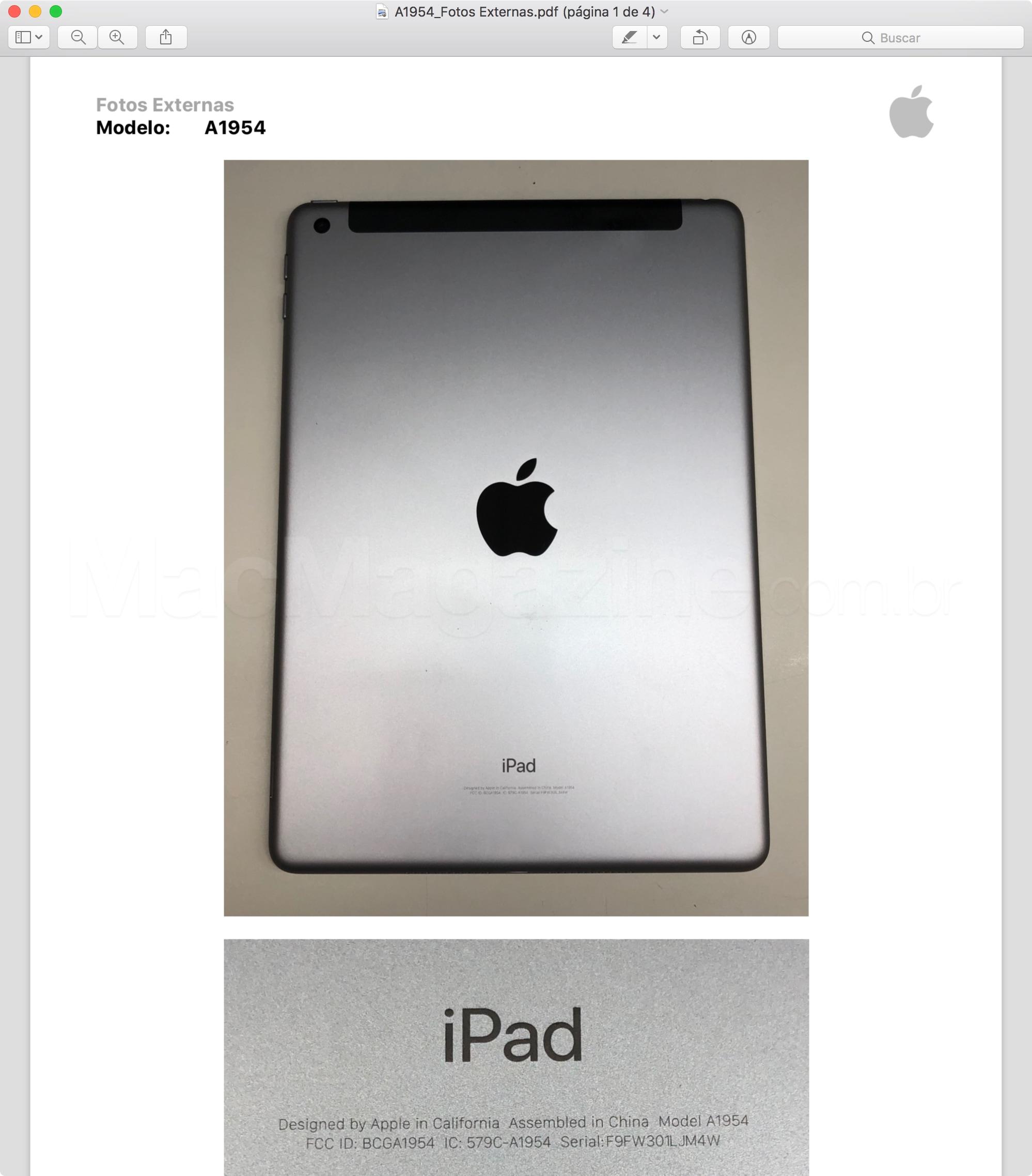 Fotos do iPad de sexta geração (Wi-Fi + Cellular) enviado à Anatel