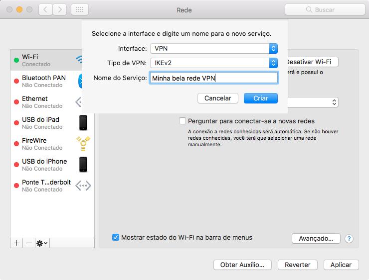 Configurando uma VPN no macOS