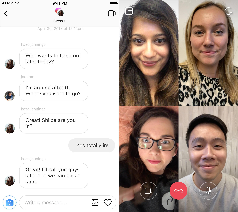 Chamadas em vídeo no Instagram