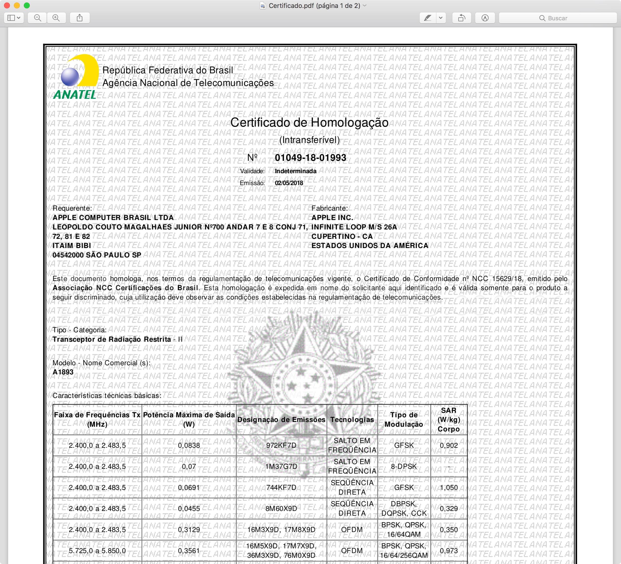 Certificado de homologação do iPad de sexta geração (Wi-Fi)