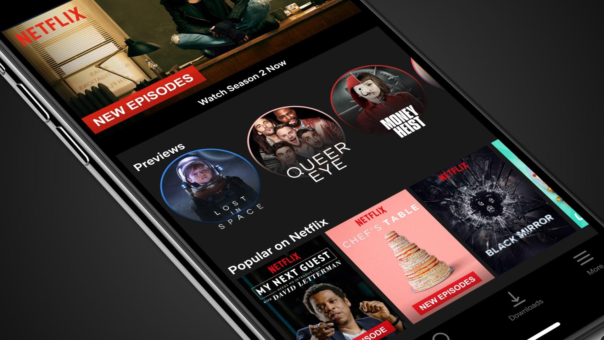 Previews de séries no app Netflix para iOS