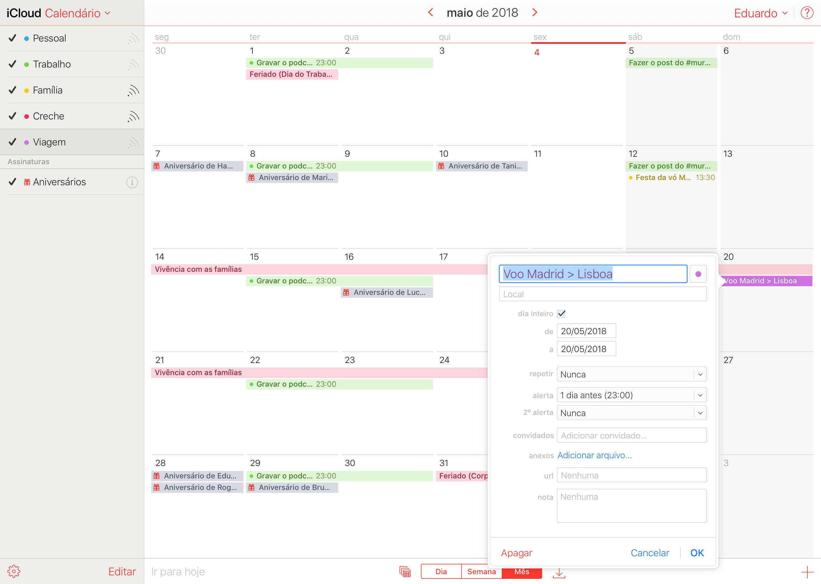 Como criar e compartilhar calendários na web, no macOS e no iOS