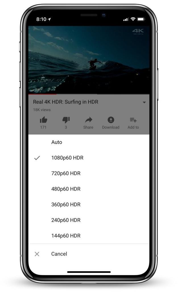 App do YouTube para iPhone X exibindo opção de HDR