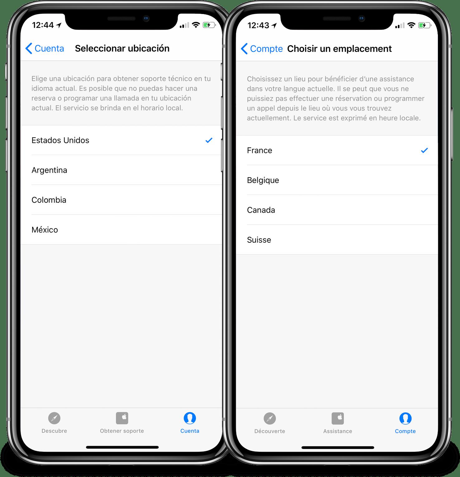 Aplicativo Suporte Apple com restrição de cobertura