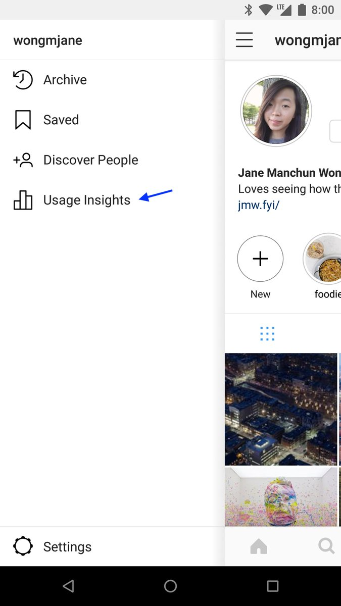 Protótipo da ferramenta Usage Insights do Instagram