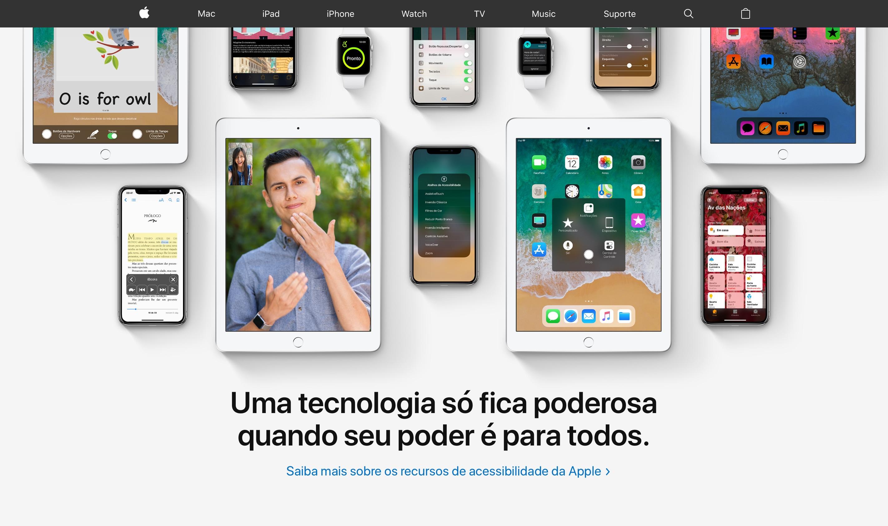 Apple.com destacando os recursos de acessibilidade da empresa