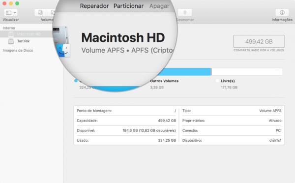 Volume principal já convertido para o Apple File System (APFS)