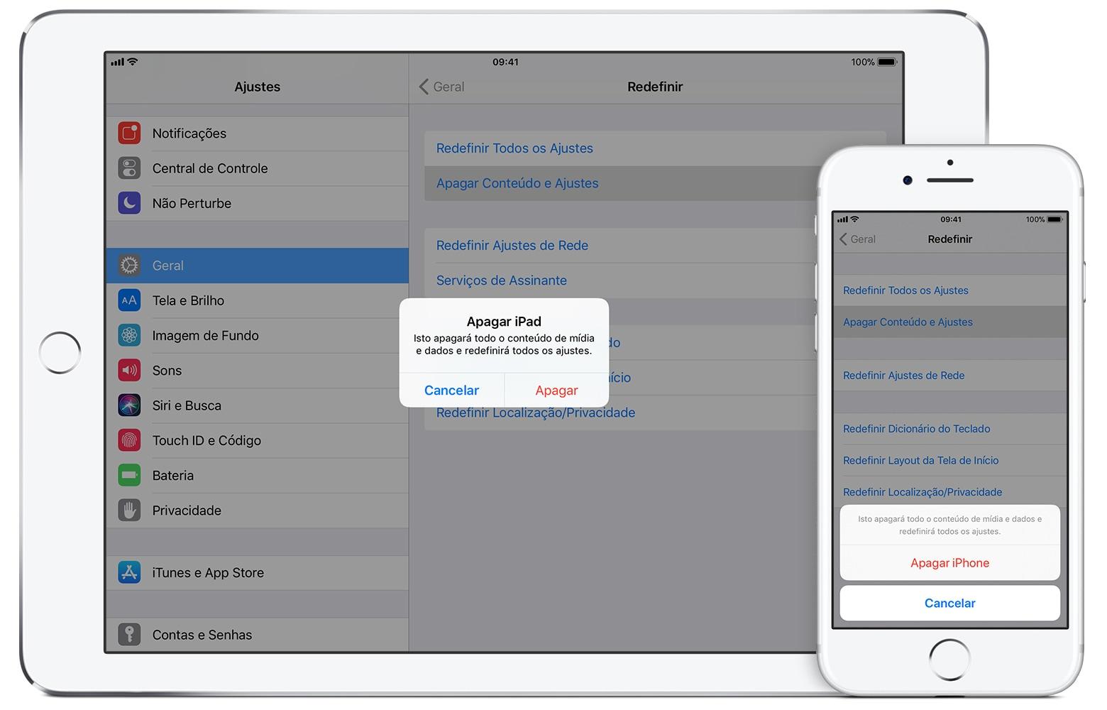 Apagando um iPhone e um iPad