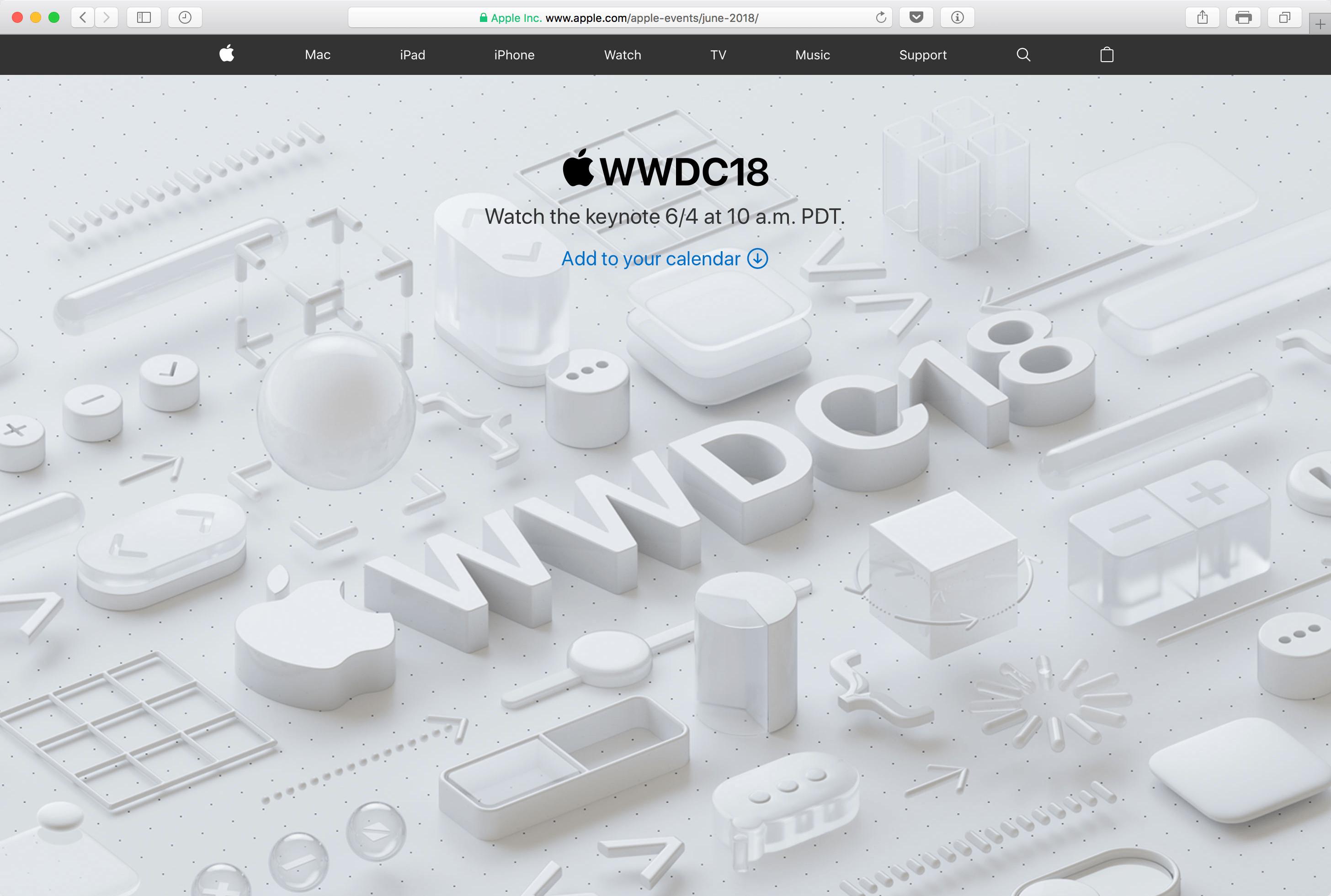 Transmissão ao vivo da Apple pra WWDC18