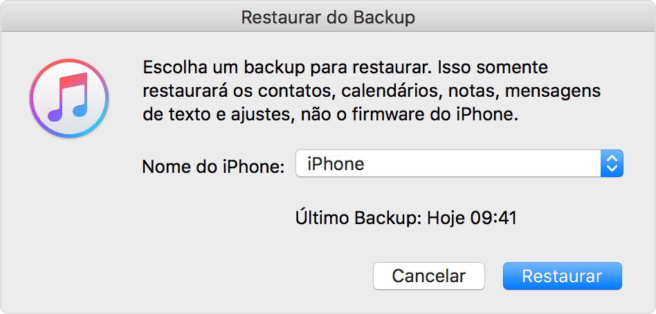 Restaurando backup pelo iTunes