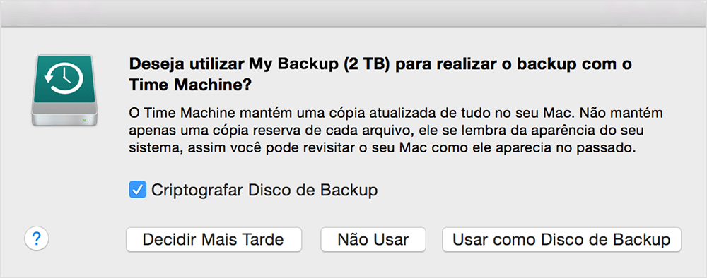 Alerta do Time Machine