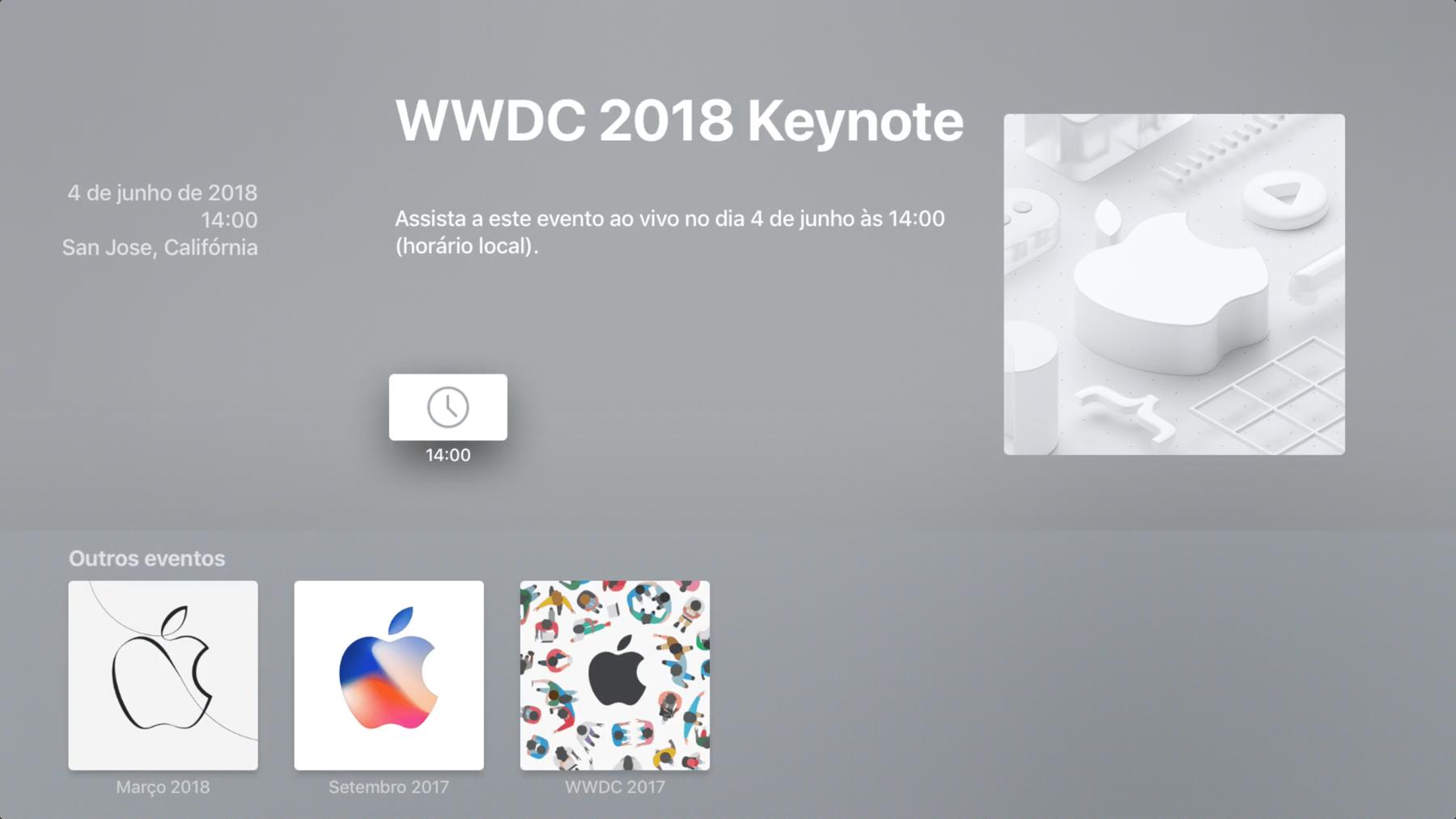 Aplicativo Apple Events na Apple TV 4K