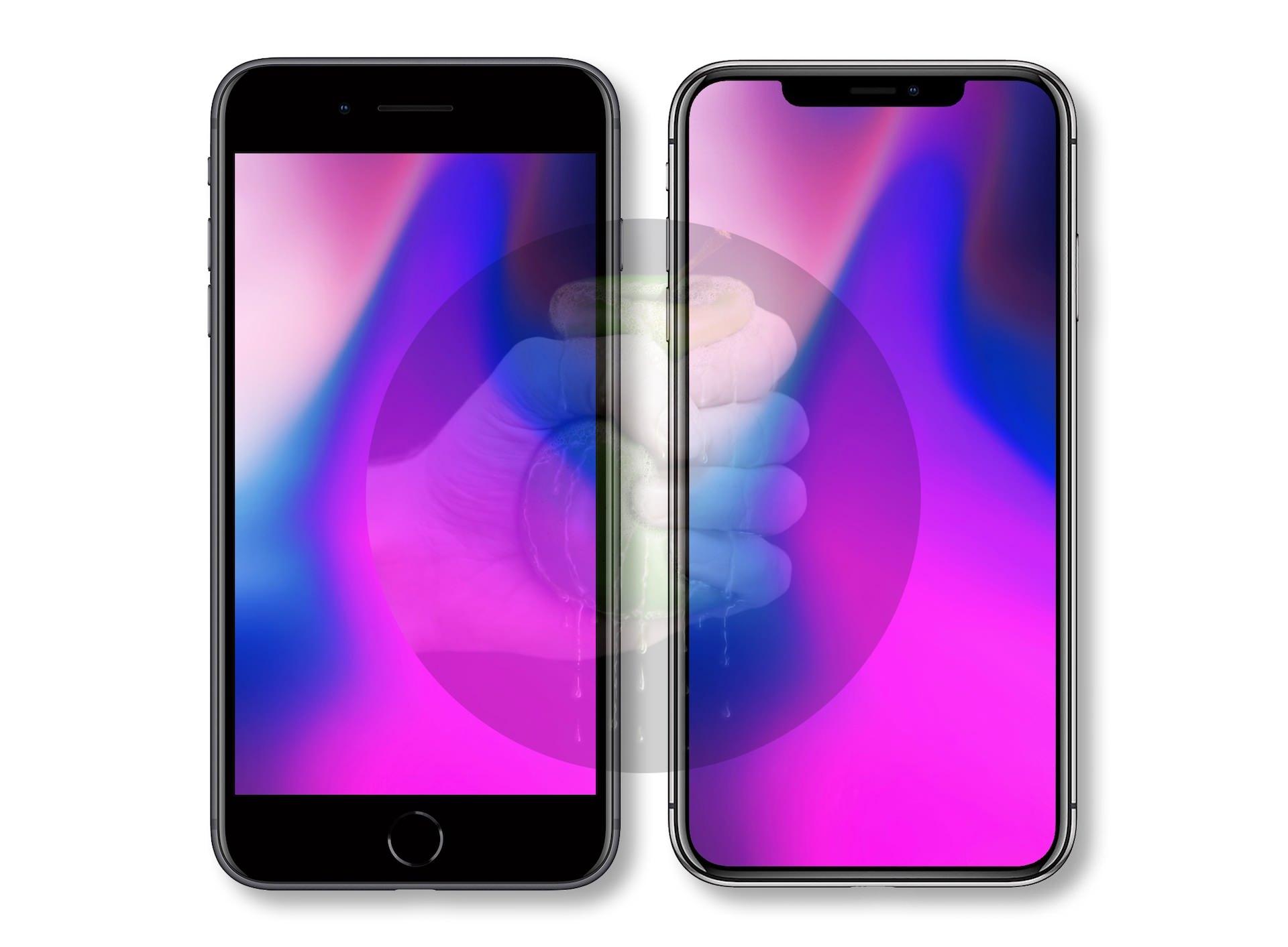 """Comparativo entre o iPhone 8 Plus (5,5"""") e o suposto iPhone com tela de 6,5"""""""