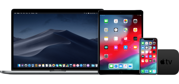 MacBook Pro, iPad, iPhone X e Apple TV rodando sistemas beta