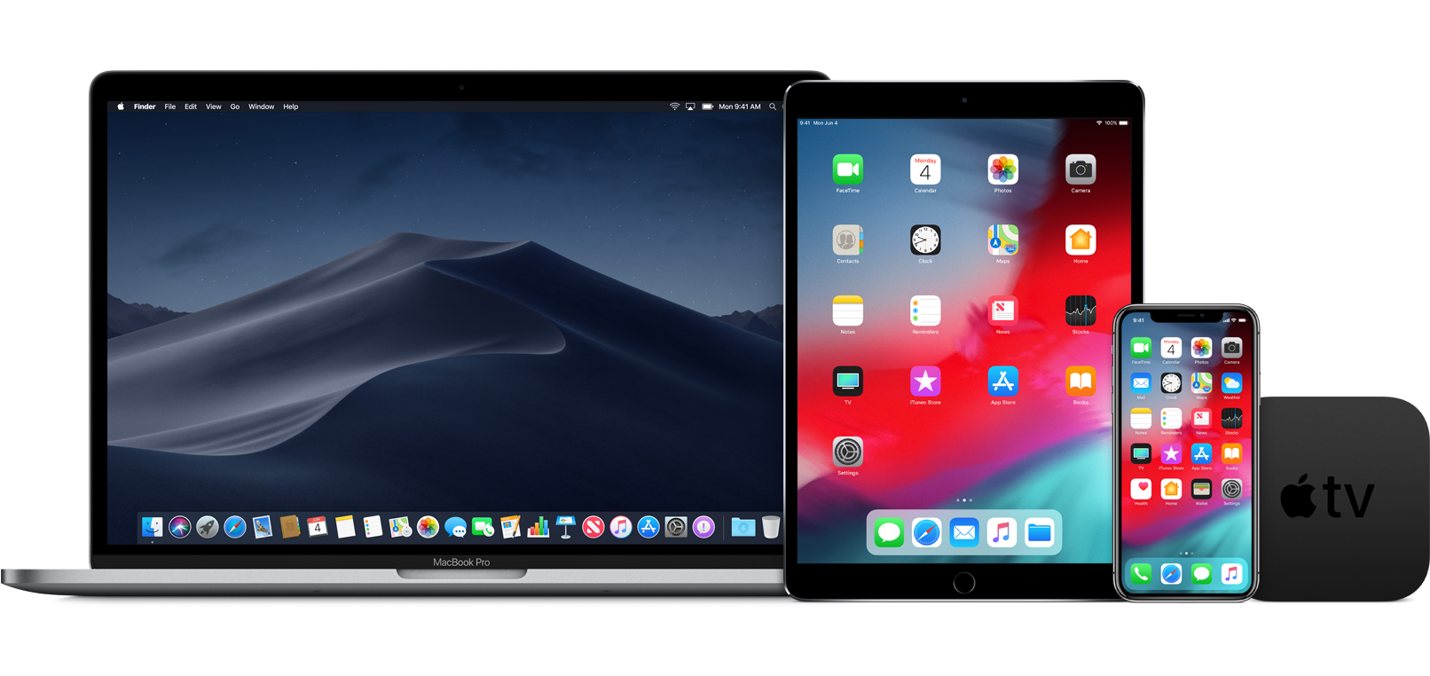 MacBook Pro, iPad, iPhone X e Apple TV rodando sistemas beta